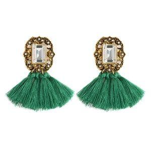 Jewelry - XMAS Green Boho Fringe Tassel & Crystal Earrings